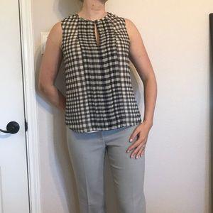 J. Crew gingham print pleated sleeveless top
